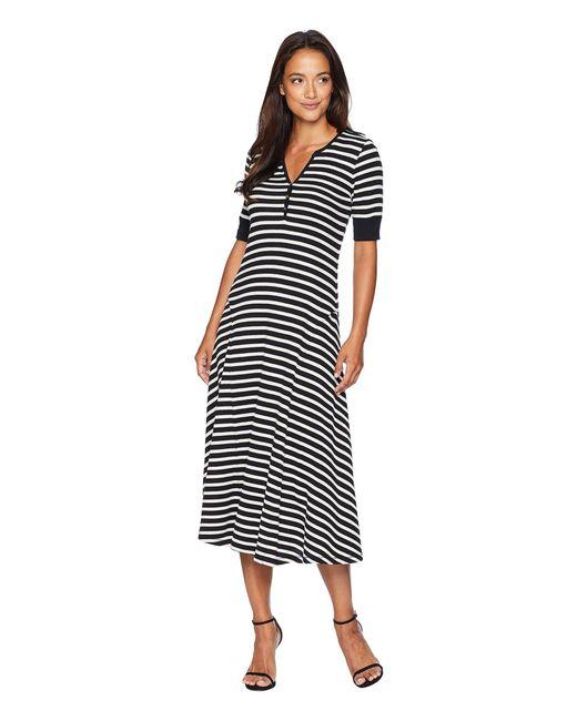 Lauren by Ralph Lauren - Black Cotton Fit-and-flare Dress - Lyst