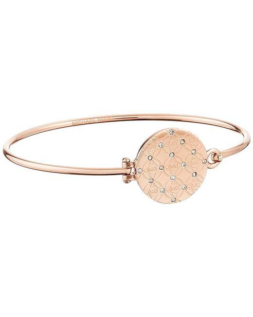 Michael Kors - Metallic Etched Top Tension Bangle Bracelet (rose Gold) Bracelet - Lyst