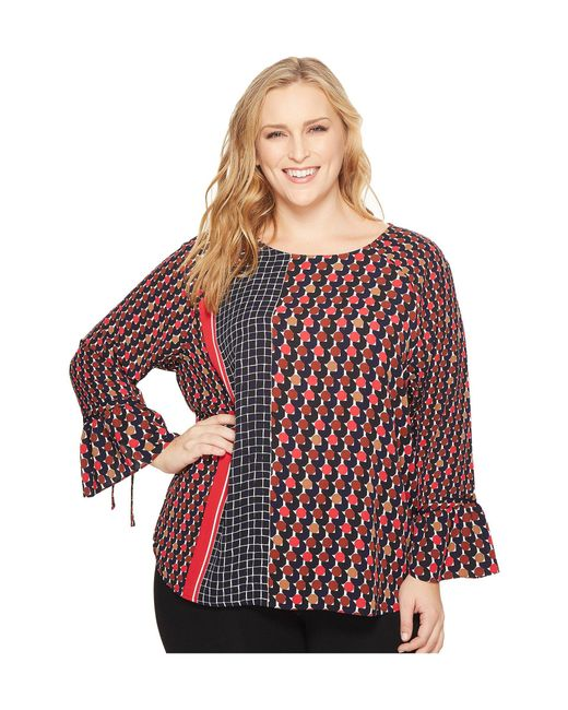 NIC+ZOE - Red Plus Size Mixed Dots Top - Lyst