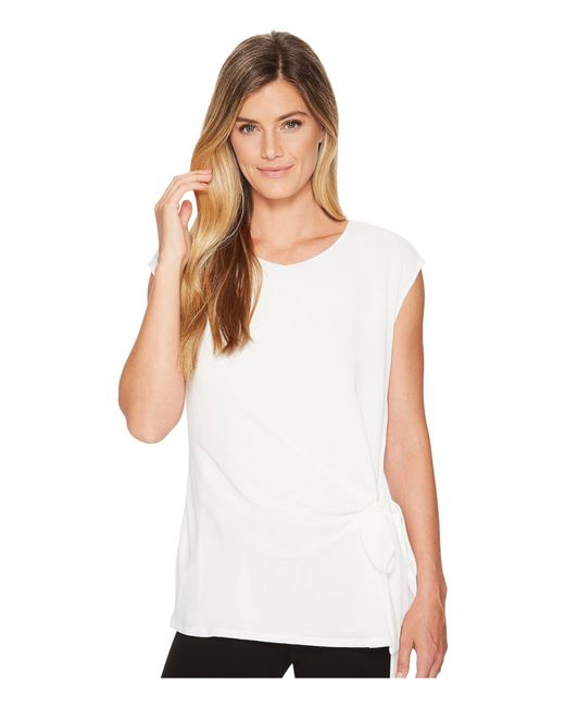Vince Camuto - White Short Sleeve Soft Texture Tie Front Blouse - Lyst