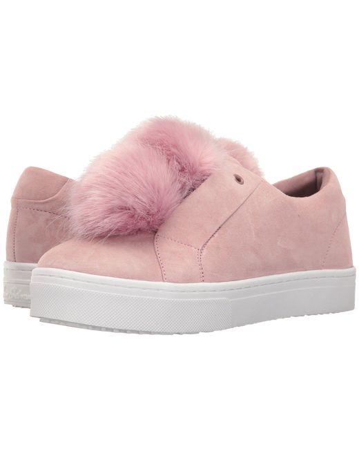Sam Edelman - Pink Leya Faux Fur Laceless Sneaker - Lyst