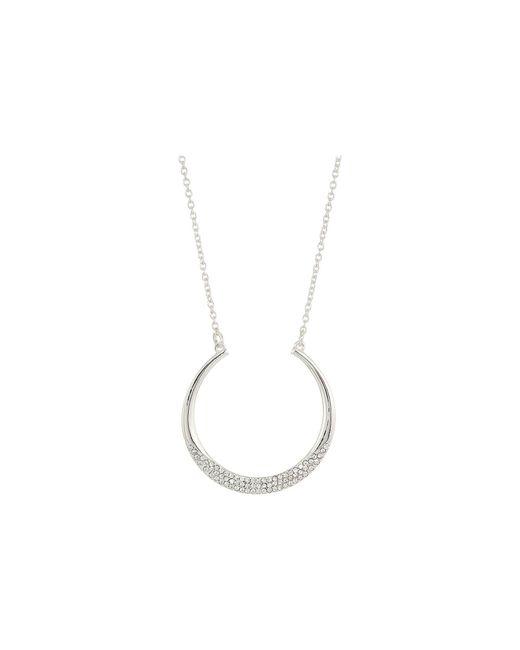 "Lauren by Ralph Lauren - Metallic Everyday Crystal 16"" Crescent Pendant W/pave Stones Necklace - Lyst"