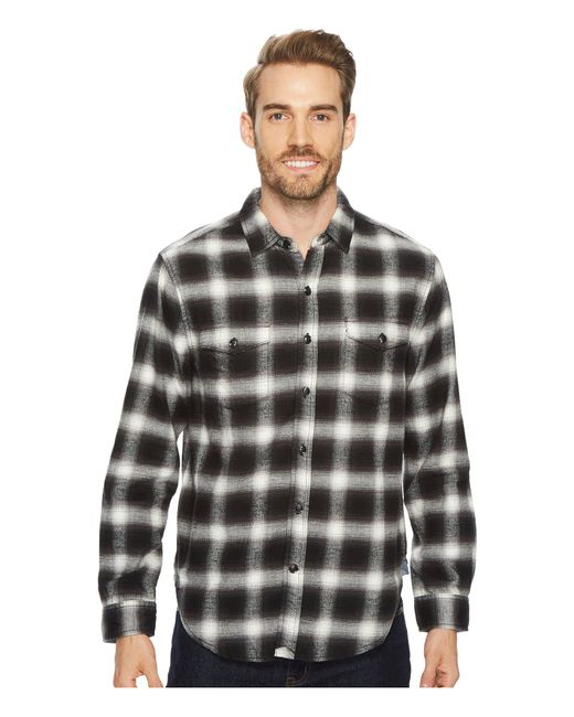 True Grit - Black Redford Plaid Long Sleeve Two-pocket Shirt With Chambray And Stitch Detail for Men - Lyst