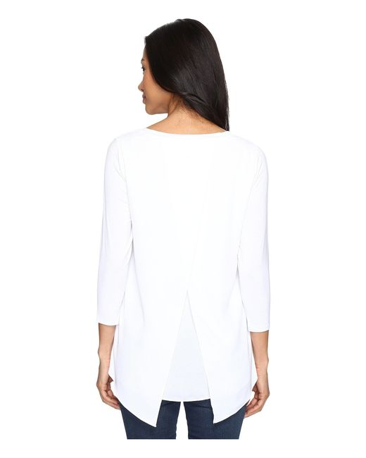 NYDJ - White Petite Mixed Media Drape Back Knit Top - Lyst