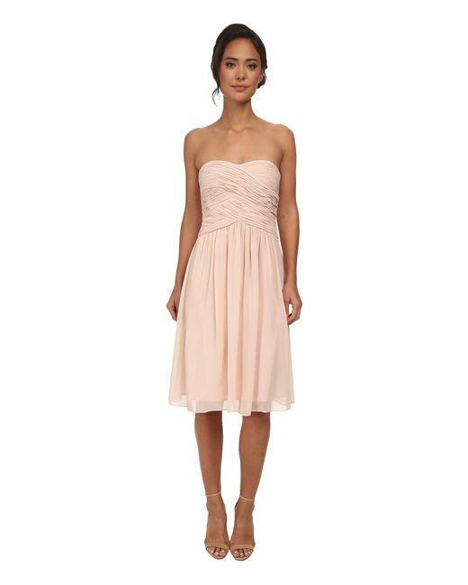 Donna Morgan | Pink Anne Short Strapless Chiffon Dress | Lyst