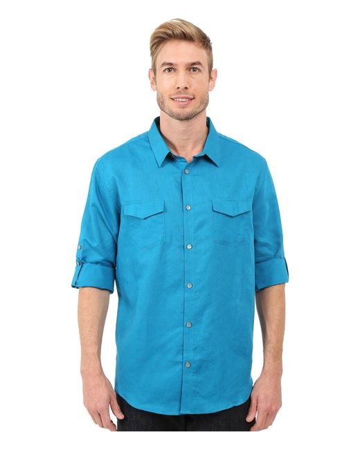 Calvin Klein   Blue Classic Fit Linen Roll-up Sleeve Shirt for Men   Lyst