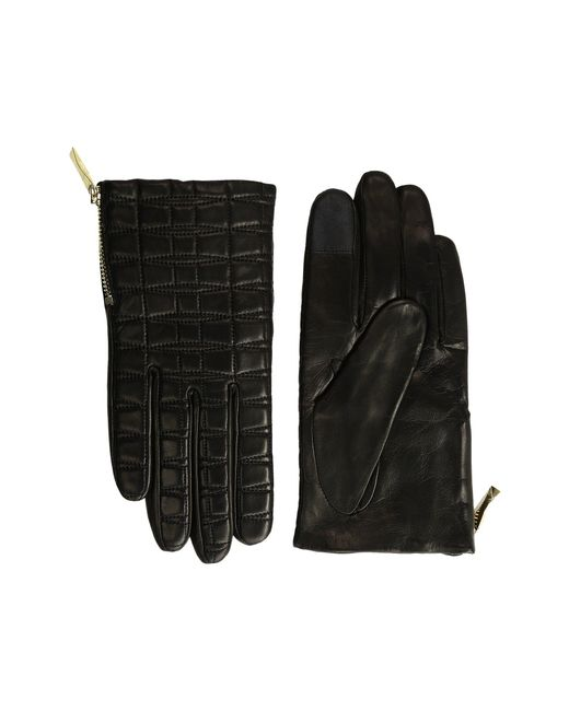 Kate Spade | Black Bow Quilted Gloves With Side Zipper | Lyst