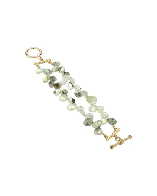 Kenneth Jay Lane | Metallic 2 Row Jade Bead Bracelet With Gold Toggle Clasp | Lyst