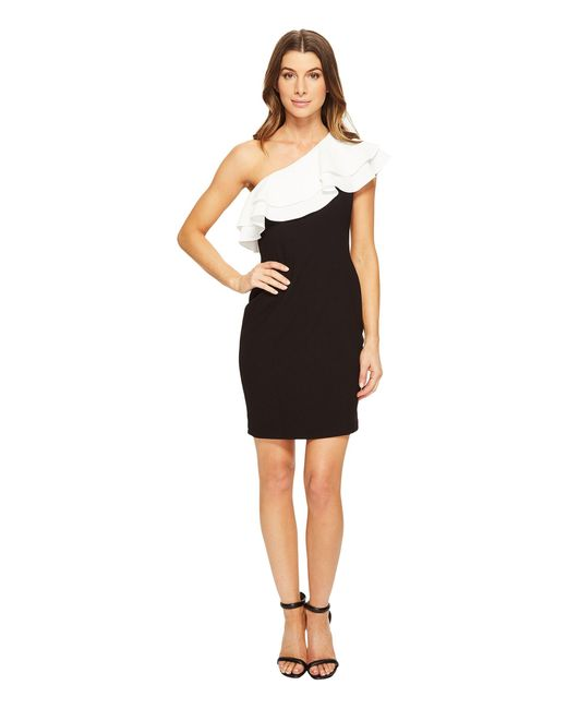 Aidan Mattox   Black One Shoulder Stretch Crepe Cocktail Dress With Contrast Ruffle Detail   Lyst