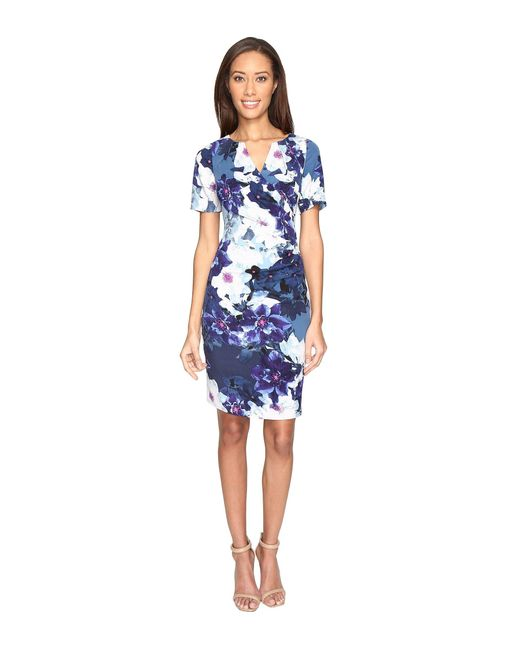 Adrianna Papell | Blue Budding Layer Printed Tiffany Twill Side Drape Pleated Sheath Dress With Elbow Sleeve | Lyst