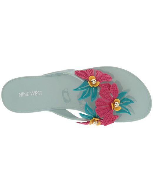 62b14c46b36f Lyst - Nine West Macinee Jelly Thong Sandal in Green - Save 45%