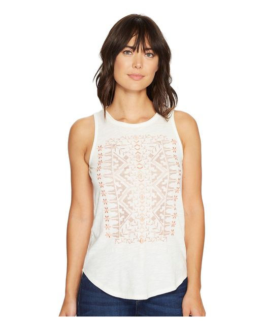 Lucky Brand | White Coral Embroidered Tank Top | Lyst