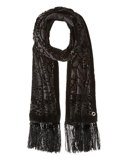 Calvin Klein | Black Velvet Burnout Wrap With Fringe | Lyst
