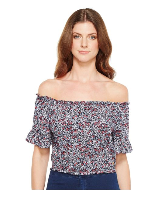 U.S. POLO ASSN. | Blue Rayon Challis Off The Shoulder Crop Top | Lyst