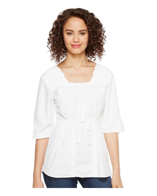 Scully | White Cantina Carla 3/4 Sleeve Top | Lyst