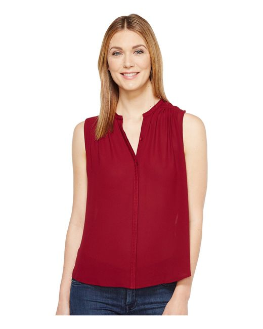 Lucky Brand | Red Pleated Tank Top | Lyst