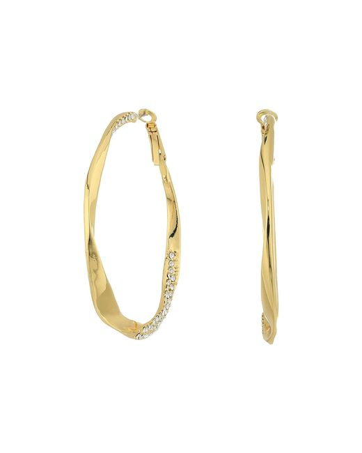 Guess   Metallic Twist Hoop Earrings W/ Pave Accent   Lyst