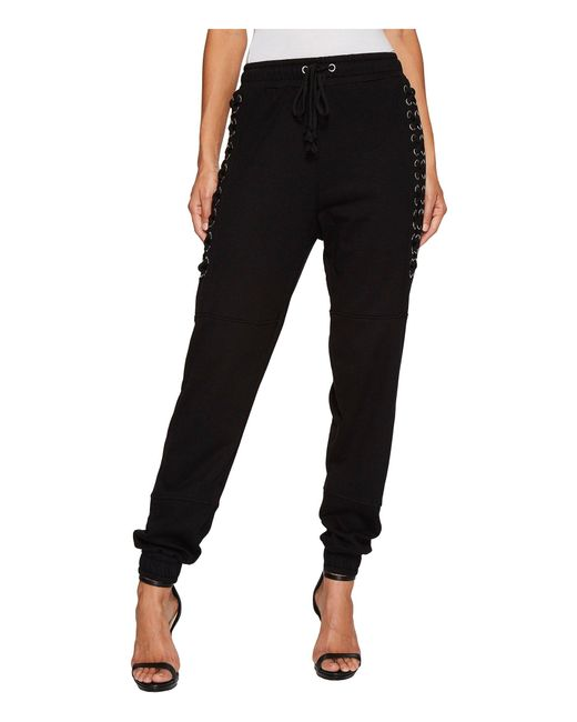 Romeo and Juliet Couture | Black Knit Jogger Pants With Lace-up Cord Detail | Lyst