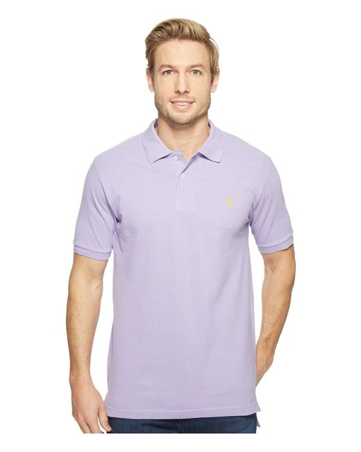 U.S. POLO ASSN. - Purple Solid Cotton Pique Polo With Small Pony for Men - Lyst
