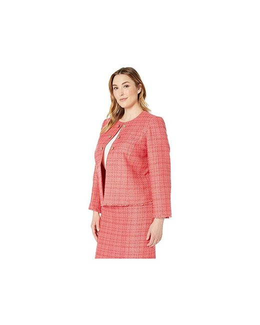 960ef300d52f ... Tahari - Pink Plus Size Boucle Skirt Suit With Gold Finish Trim (coral)  Suits ...
