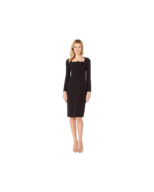 7c4c15d7 Maggy London - Dream Crepe Scalloped Neck Midi Dress With Sleeve (black)  Dress ...