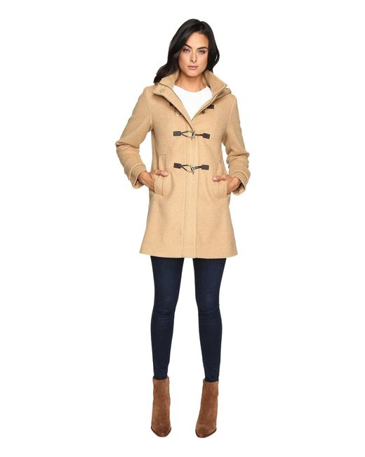 Vince Camuto - Natural Hooded Toggle Closure Wool Coat L8311 - Lyst