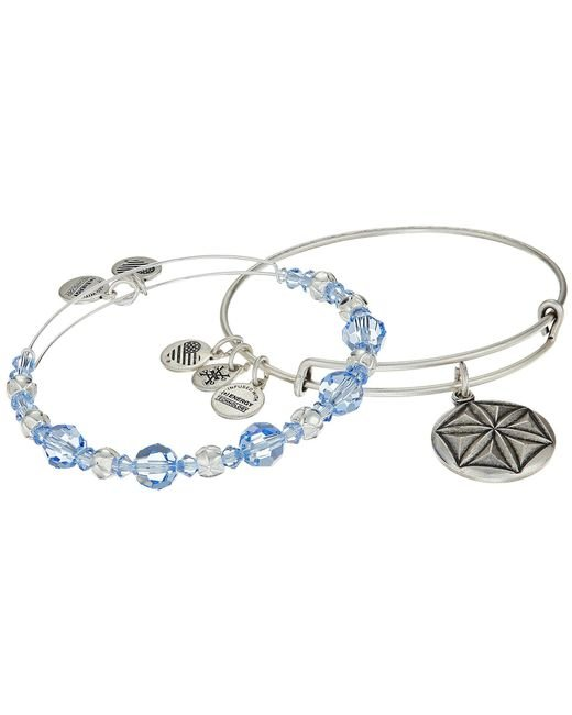 ALEX AND ANI   Blue Aphrodite's Flower Bracelet Set Of 2   Lyst