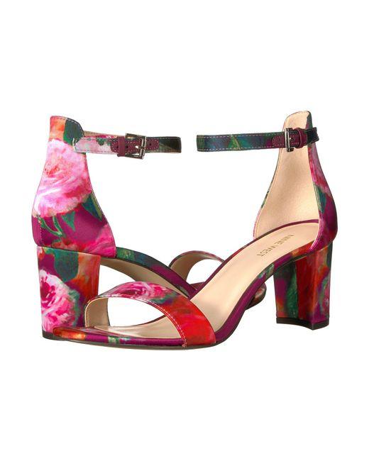 Nine West - Pink Pruce Block Heel Sandal - Lyst