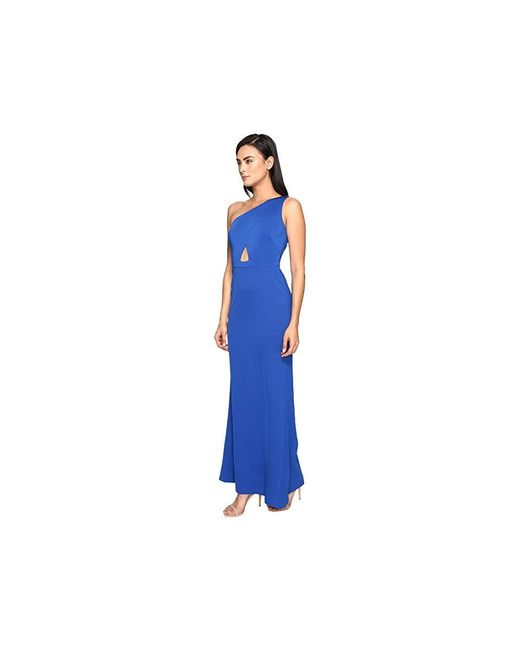 97839f425dd ... Adrianna Papell - Blue Jersey One Shoulder Gown W/ Cutout (royal) Dress  ...