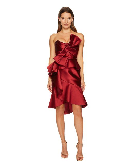 Marchesa - Red Strapless Mikado Cocktail Bow Dress - Lyst