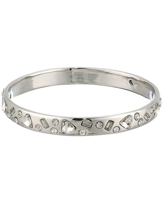Betsey Johnson - Metallic Blue By Silver Tone Bangle With Multi Shape Cz Crystal Accents - Lyst