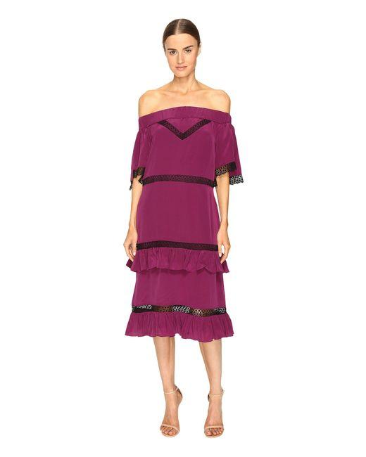 Prabal Gurung - Purple Off Shoulder Tiered Ruffle Dress - Lyst