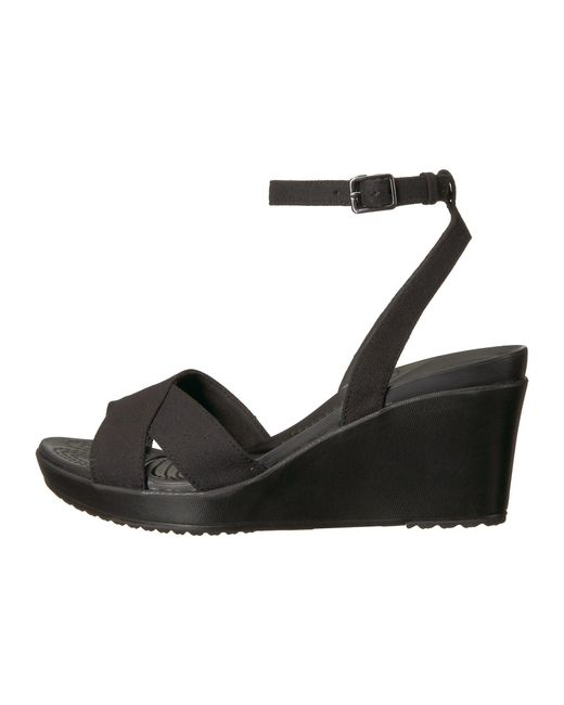 b5086615371 Lyst - Crocs™ Leigh Ii Ankle Strap Wedge in Black - Save 26%