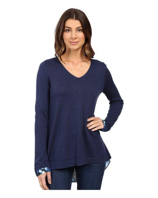 NYDJ - Blue Key Item Mixed Media Sweater - Lyst