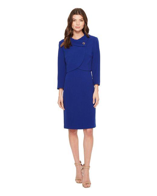 Tahari - Blue Envelope Collar Jacket Dress - Lyst