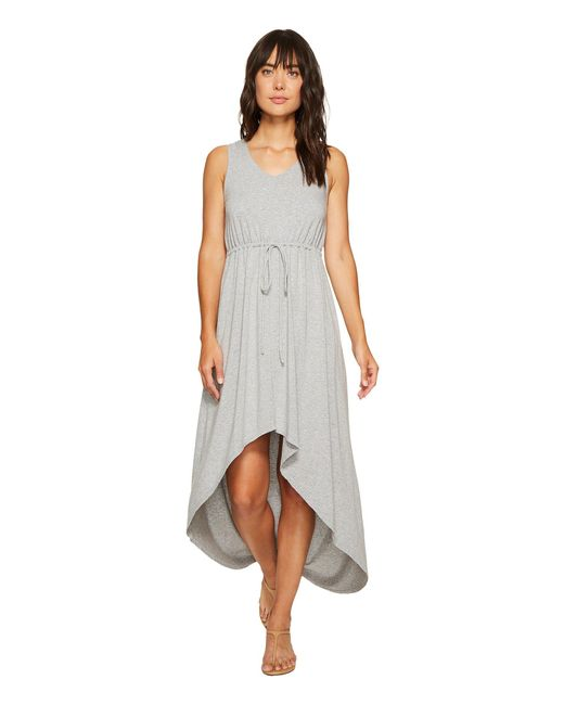 Mod-o-doc - Gray Cotton Modal Spandex Jersey Cinch Waist Hi-low Hem Tank Dress - Lyst