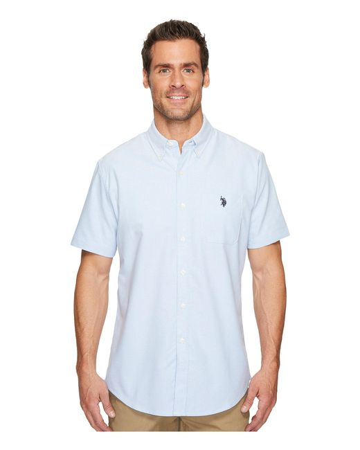 U.S. POLO ASSN. - Blue Short Sleeve Classic Fit Solid Shirt for Men - Lyst