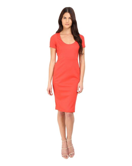 Zac Posen - Red Short Sleeve Fitted Sheath Dress - Lyst