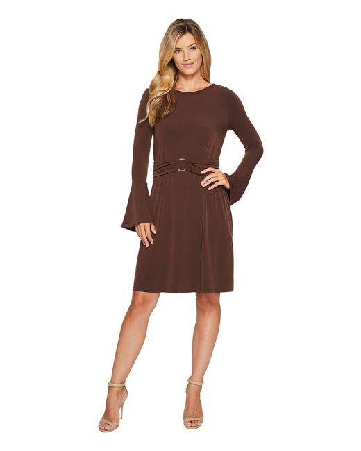 96c44b12501 Lyst - MICHAEL Michael Kors Flare Sleeve Ring Dress in Brown - Save 30%