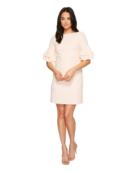 Lauren by Ralph Lauren - Pink Silvana Luxe Tech Crepe Dress - Lyst