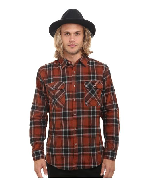 Brixton - Brown Bowery Long Sleeve Flannel for Men - Lyst