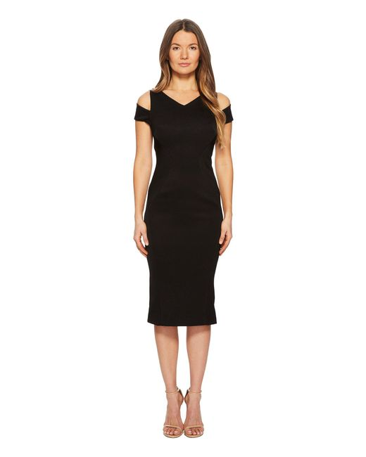 Zac Posen - Black Bonded Crepe Cold Shoulder Cocktail Dress - Lyst