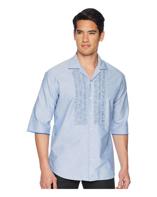 DSquared² - Blue Ruffled Roll Up Shirt for Men - Lyst