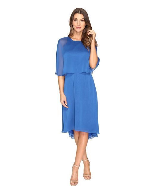 Halston Heritage - Blue Short Sleeve Round Neck Dress W/ Back Cut Out & Sash - Lyst