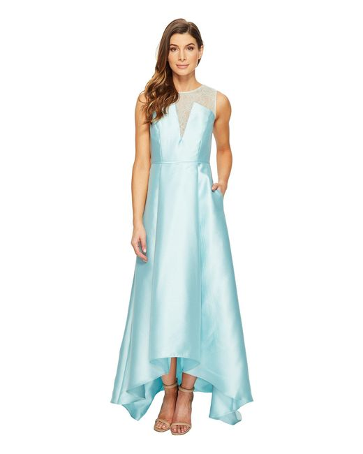 Adrianna Papell - Blue Lace Bodice Yoke And Mikado Combo Ball Gown - Lyst