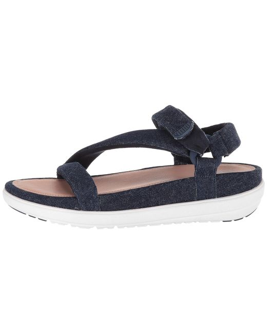 3c7f727ec7bbb Lyst - Fitflop Loosh Luxetm Z-strap Denim Sandals in Blue - Save 45%