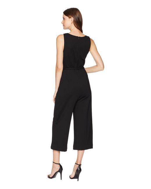 6354f1baa258 Lyst - Three Dots Ponte Sleeveless Jumpsuit in Black