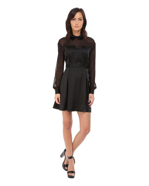 Love Moschino   Black Sheer Paneled Long Sleeve Dress W/ Heart Chest Detail   Lyst