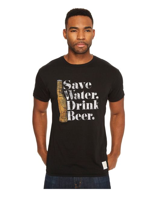 The Original Retro Brand - Black Save Water Drink Beer Short Sleeve Vintage Cotton Tee for Men - Lyst