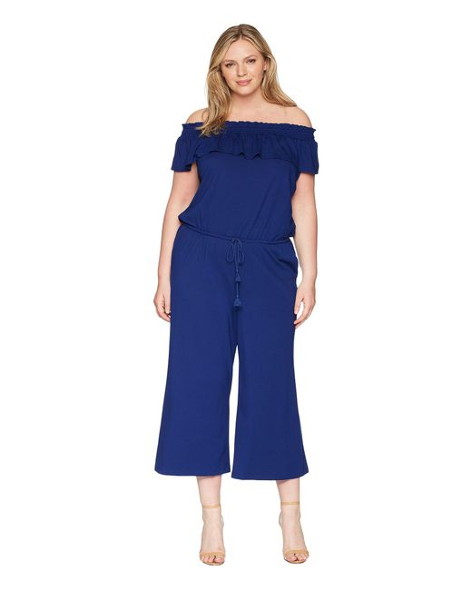 Lauren by Ralph Lauren - Blue Plus Size Off The Shoulder Wide-leg Jumpsuit - Lyst